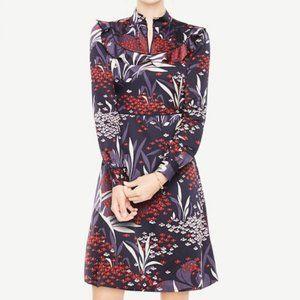 Ann Taylor Floral Mock Neck Long Sleeve Dress